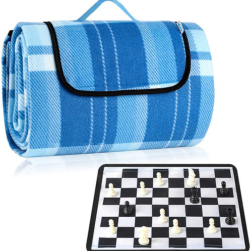 Picnic Blanket, 200x150cm Outdoor Blanket with 25x25cm Chess, Beach Blanket Wate