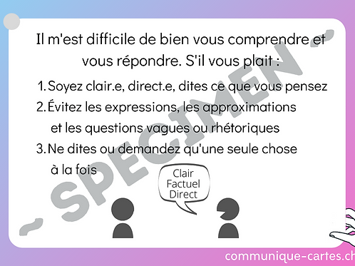 "Carte ""Clair, factuel, direct"""