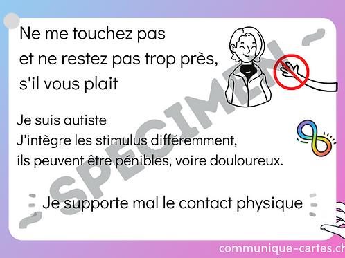 """Carte """"Ne me touchez pas"""" - autisme"""