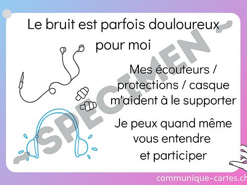 """Carte """"bruit douloureux protection participer"""""""