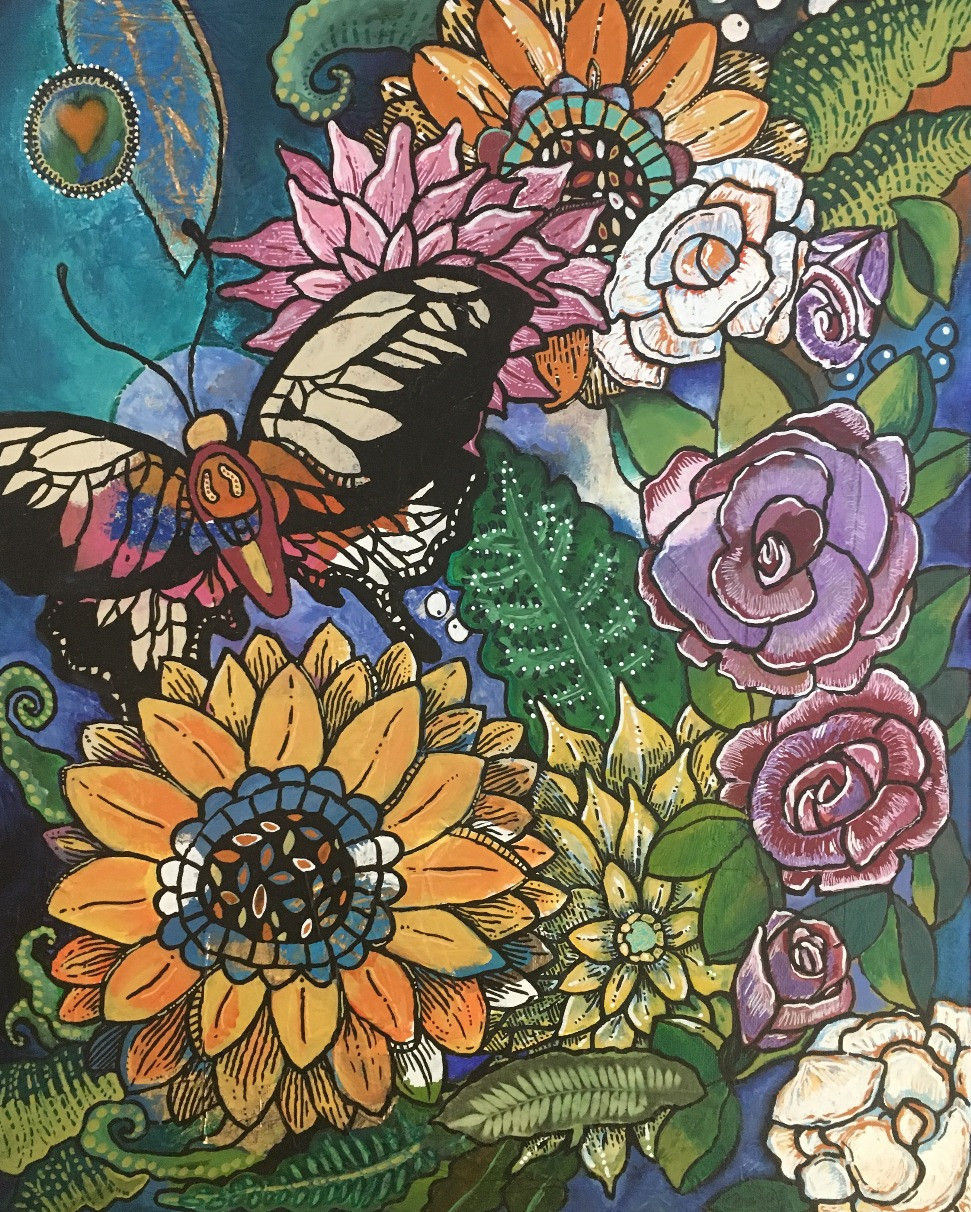 Butterfly in a Garden by Marcia Francis