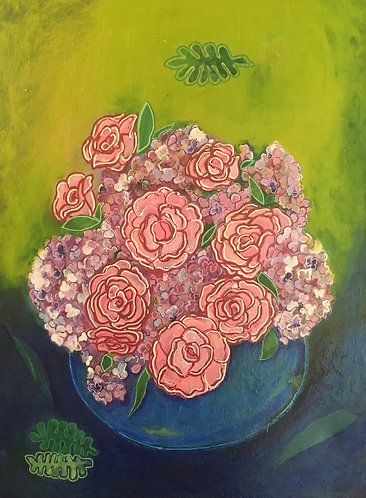 Bowl of Pink Roses