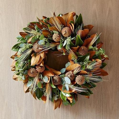 """Magnolia Cone Wheat wreath 20"""""""