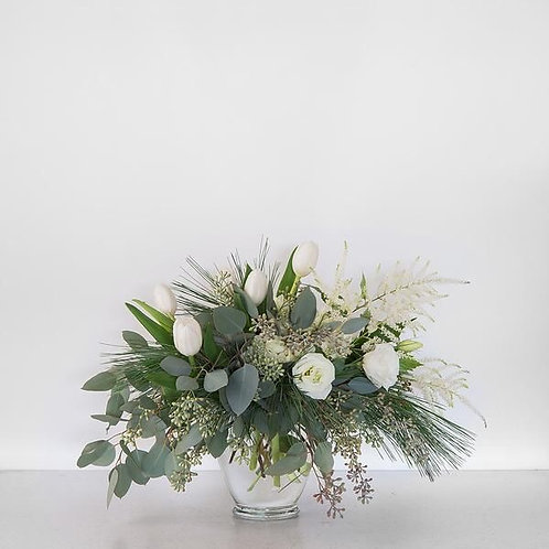Centerpiece with eucalyptus and white