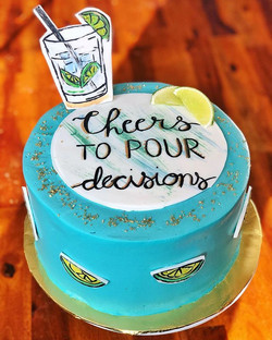 Cheers to POUR decisions! 🍸_Custom gin & tonic cake with a gin & lime zest buttercream