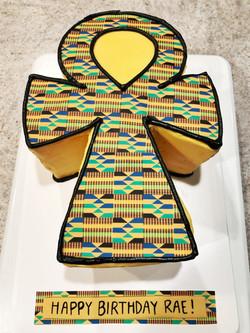 Ankh Kente cloth cake
