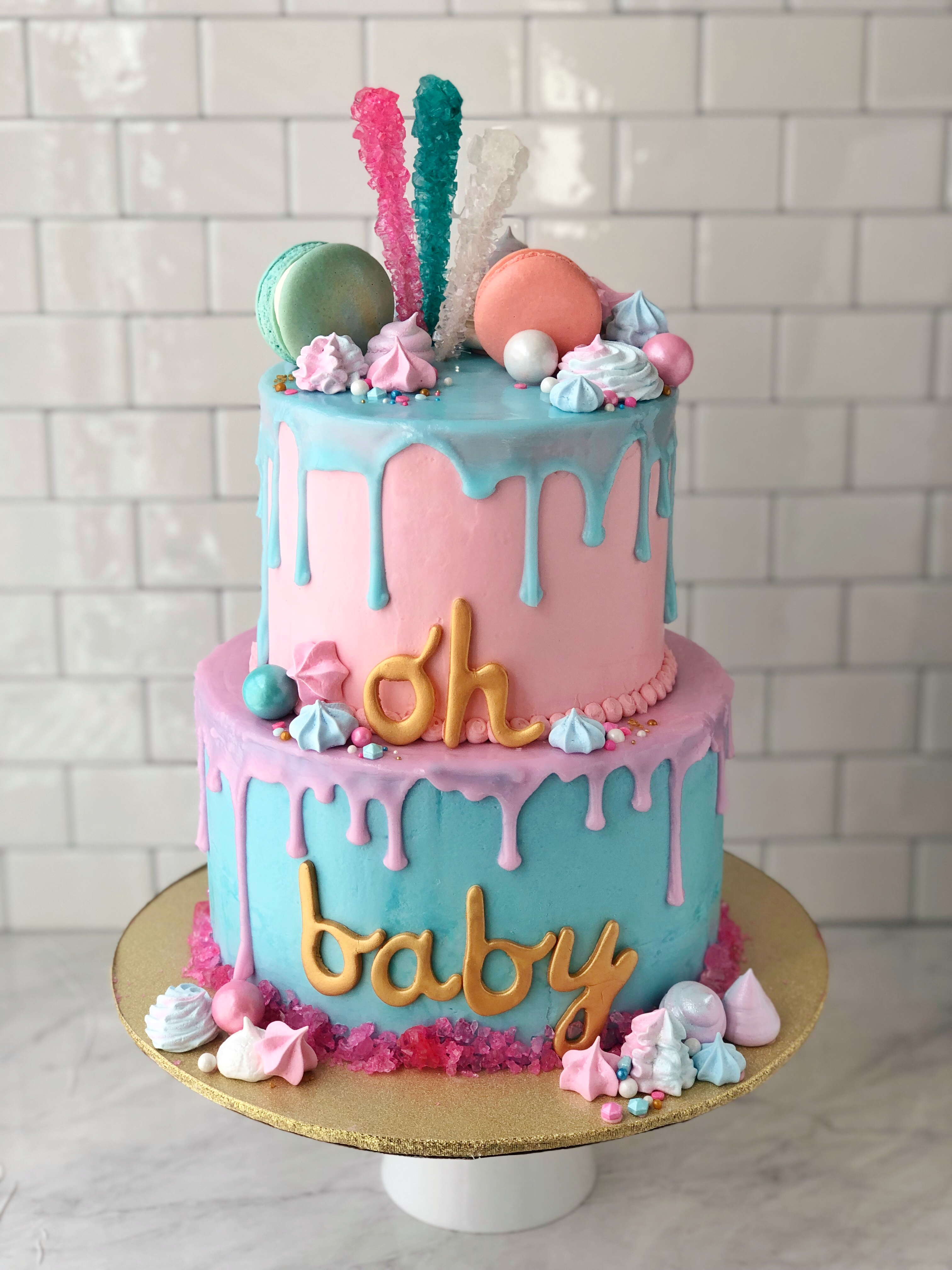 Oh Baby Gender Reveal Drippy Cake