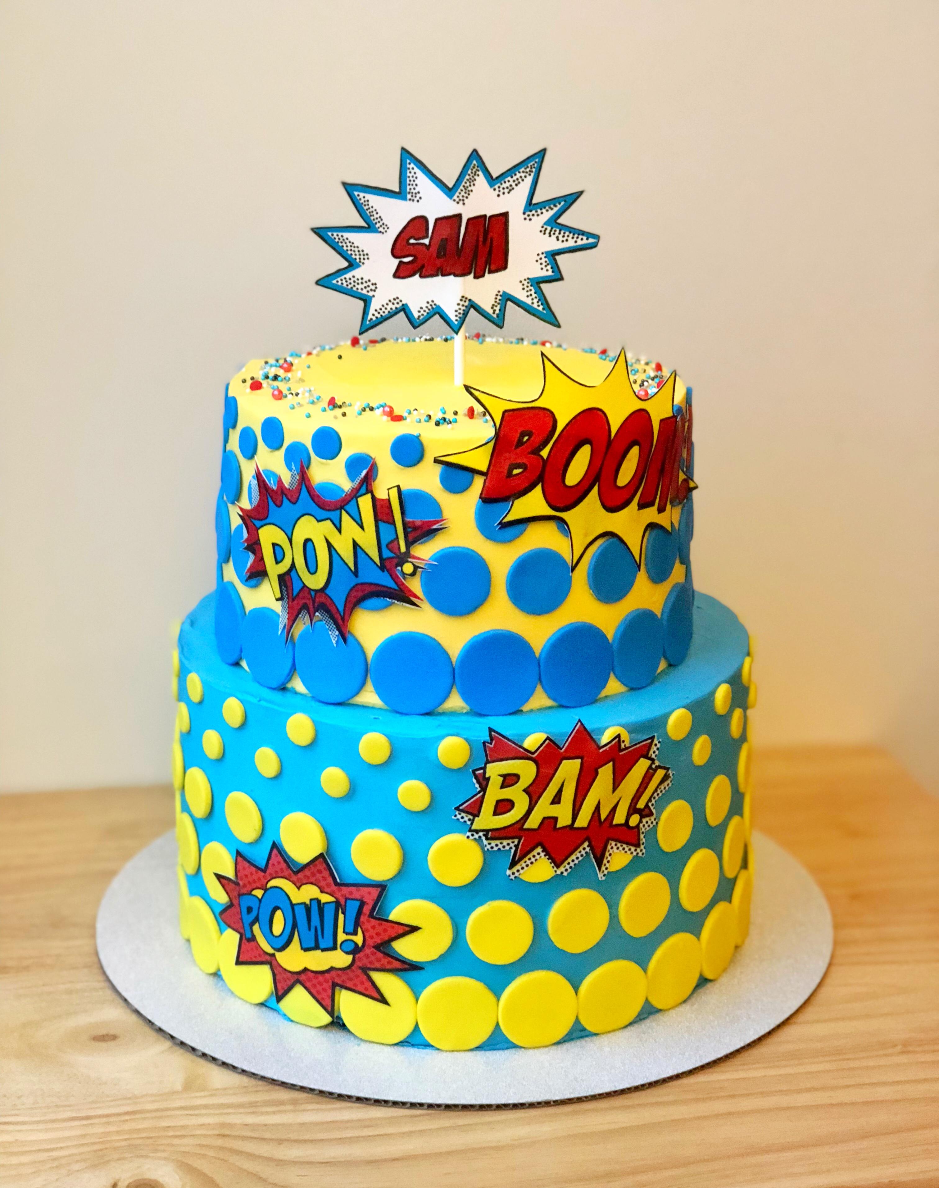 Comic book pop art cake