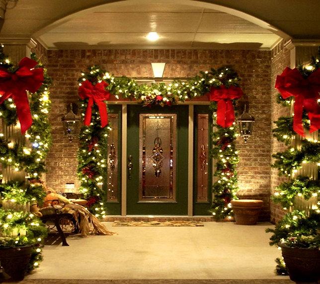 Christmas Garland with lights installation