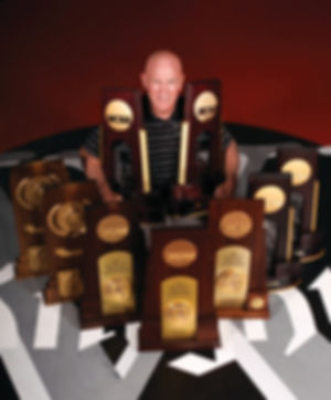 Coach with trophies