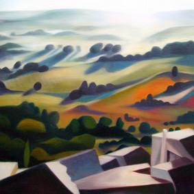 "OEUF A LA COQUE   oil on wood panel  24 x 24""  2007"