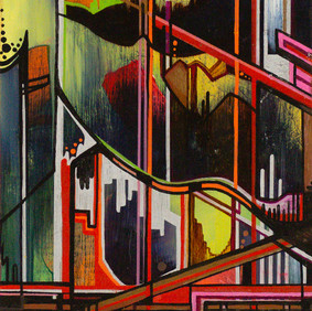 """ATL   oil and marker on wood block  5.5 x 9"""" 2009"""