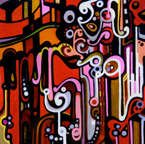 """O'AHU   oil and marker on wood block  5.5 x 9"""" 2009"""