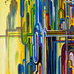 """LIBERTY NATIONAL   oil and marker on wood block  5.5 x 9"""" 2009"""
