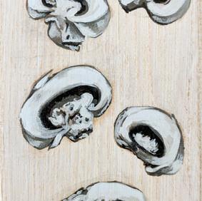 "MUSHROOMS   acrylic on wood block  3 x 6"" 2015"