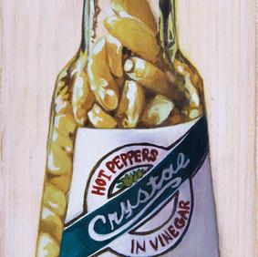 "PEPPER SAUCE   acrylic on wood block  3 x 6"" 2015"