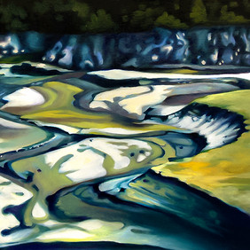 """DRY RIVER BED  oil on canvas  12 x 12""""  2009"""