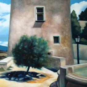 """POUSSES D'EPINARD   oil on wood panel  14.5 x 14.5""""  2007"""