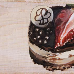 "CHOCOLATE MOUSSE  acrylic on wood block 3 x 6"" 2015"