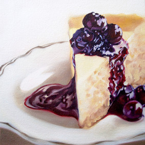 """BLUEBERRY CHEESECAKE   oil on canvas 7.5 x 9"""" 2008"""