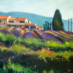 """COMPOTE D'ABRICOTS A LA LAVANDE  oil on wood panel  24 x 48""""  2007"""