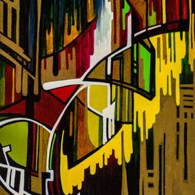 """TASTE CHICAGO  oil and marker on wood block  5.5 x 9"""" 2009"""