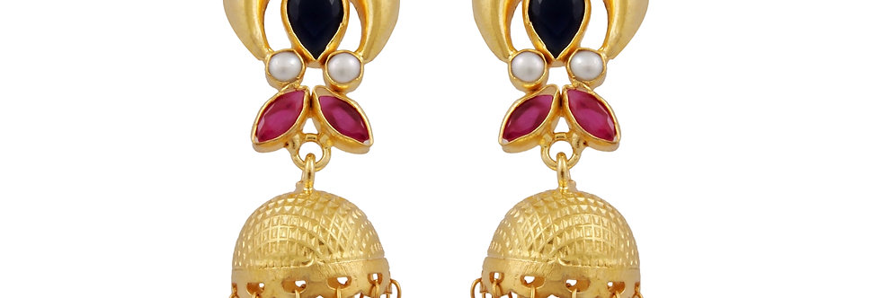 Red Stones and white Pearl Drop Jhumkis