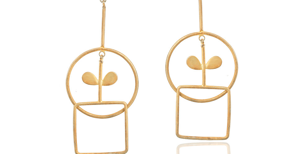 Golden Geometric long earrings