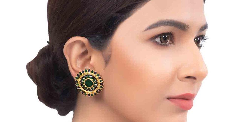 Sparkling Symmetric Golden Earrings