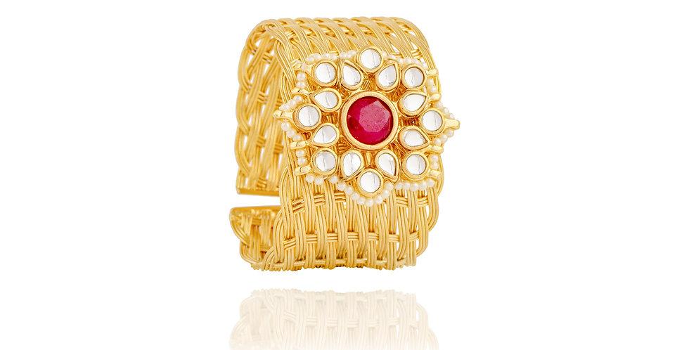 Rose Gold Floral Motif wrist cuff