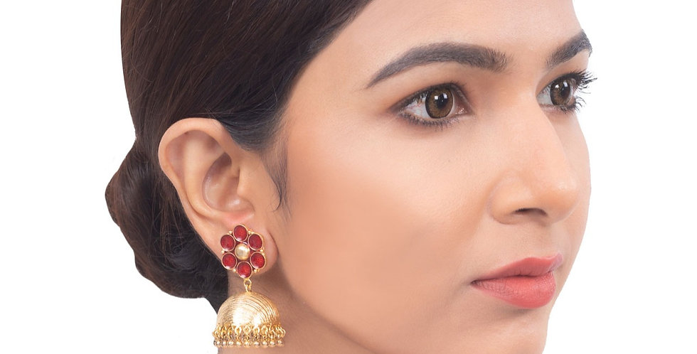 Enchanting Flora Dome Shaped Jhumkis