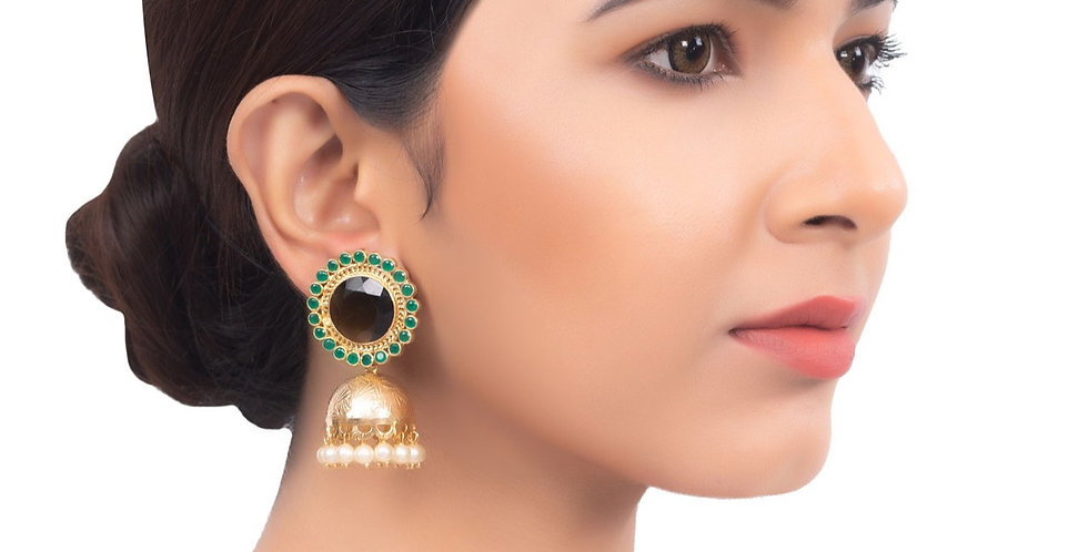 Opulent and Rich Emerald drop Jhumkis