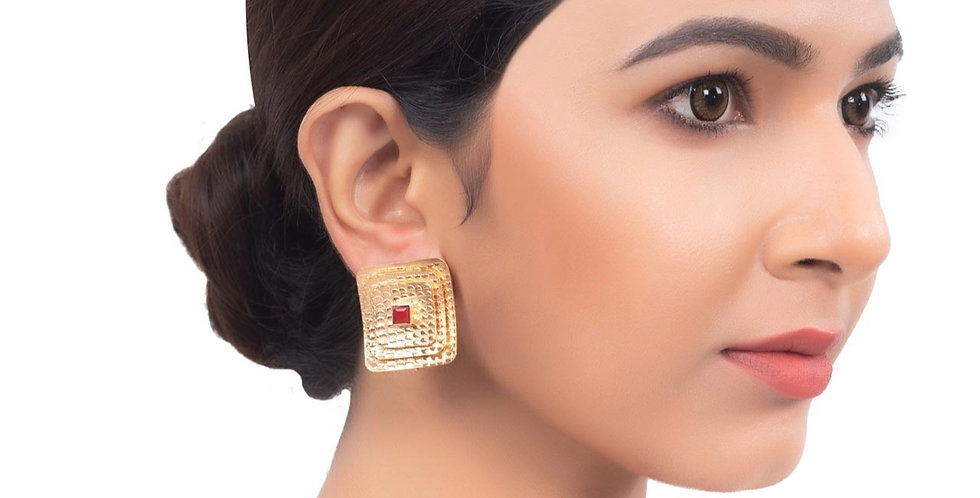 Red Stone on Golden Frame Stud earrings.