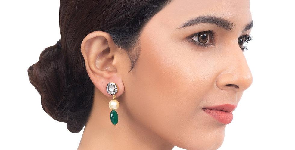 White Crystal Studs Drop Earrings