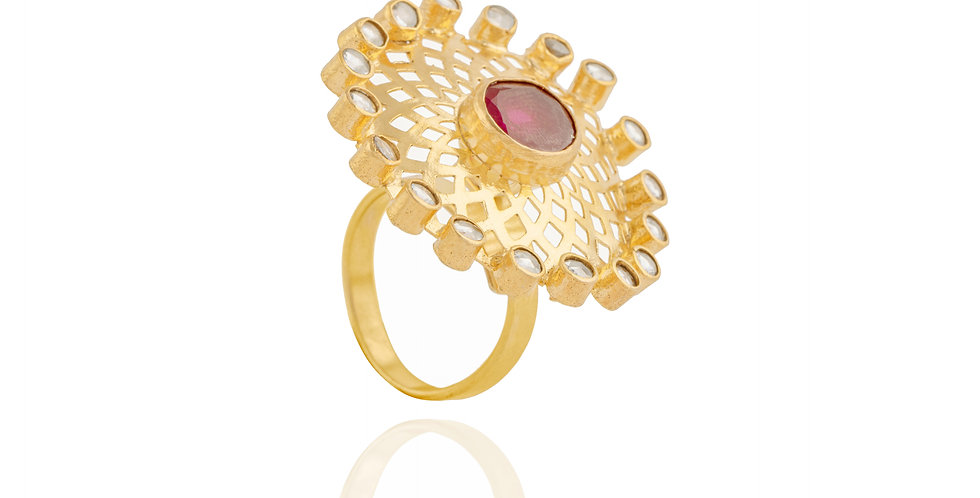 Golden frame with Red Stone Ring