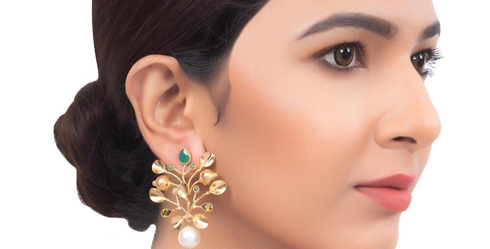 Golden Finish Forest Medium Earrings