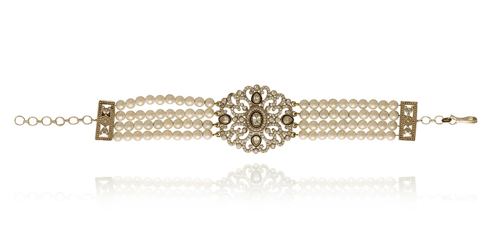 White Pearl Strings and white stones Bracelet
