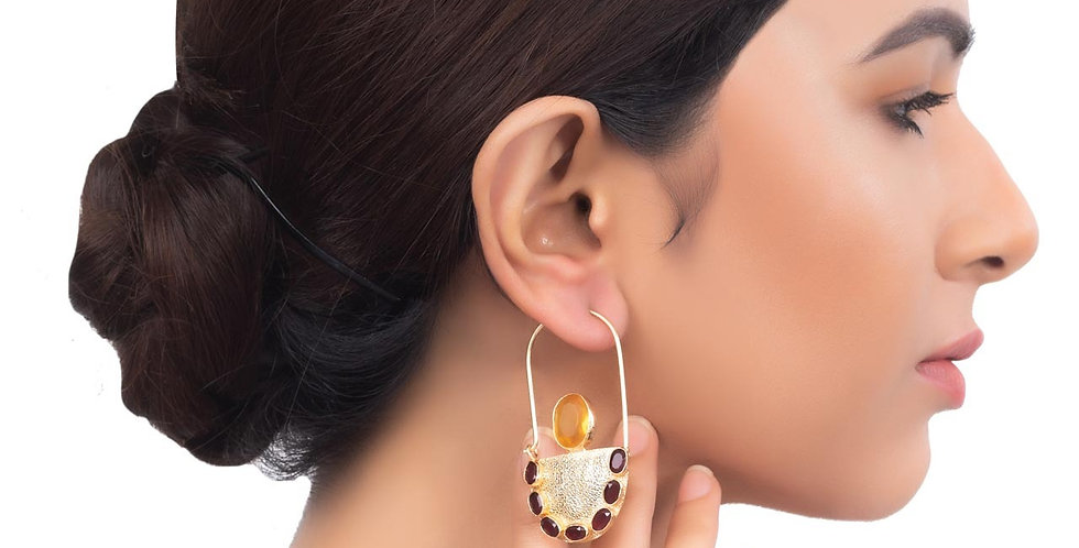 Semi Disc Maroon Stud Top earrings