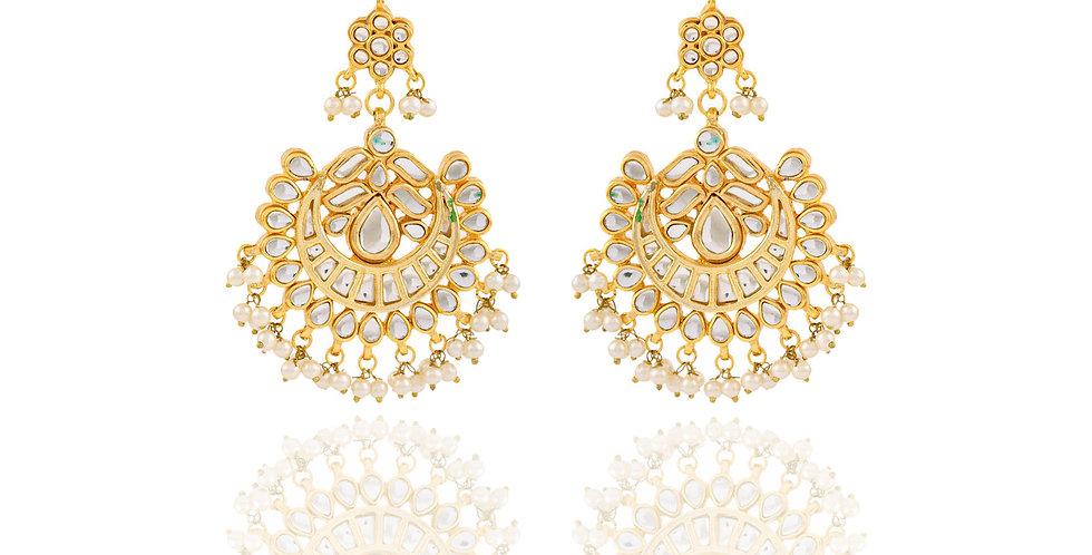 Golden and white stones Chandbalis