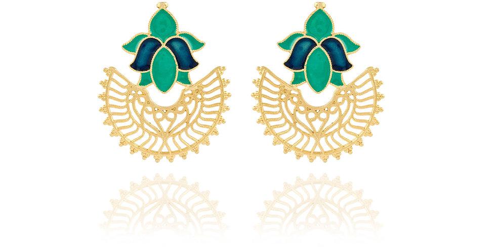 Crescent cut with Blue Enamel top Earrings