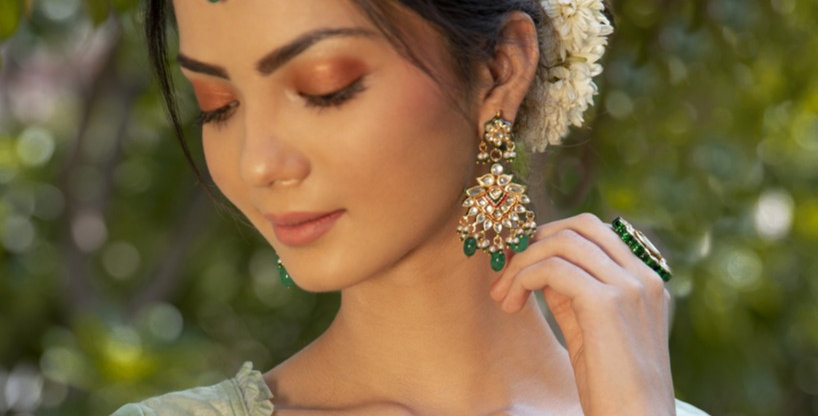 Green Pearl Drop earrings and maang tikka Set
