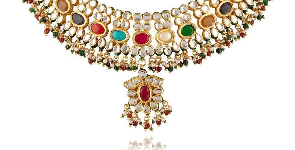Golden Kundan Light Necklace Set