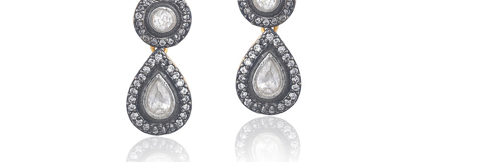 Silverholic-Toned white stones and duo drop Earrings