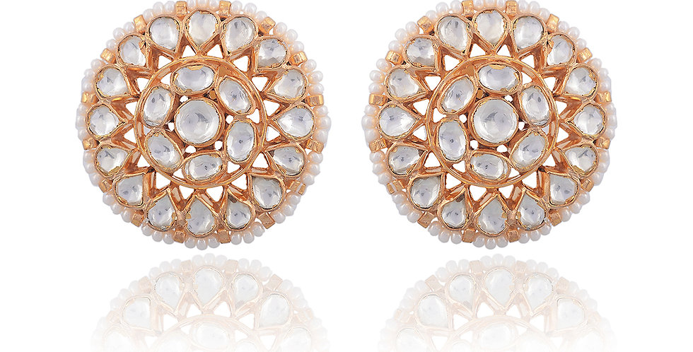 Full Moon White Stones Stud Earrings