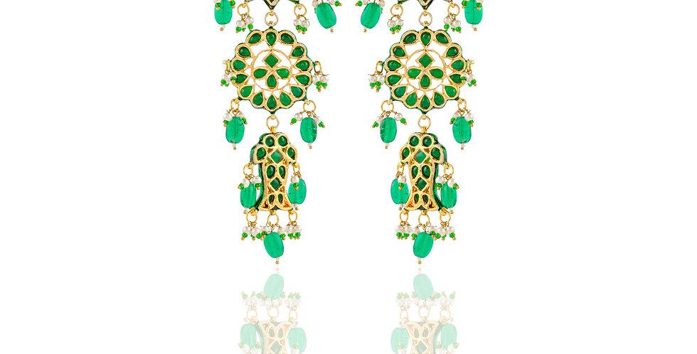 Golden and Green Stones Long Earrings