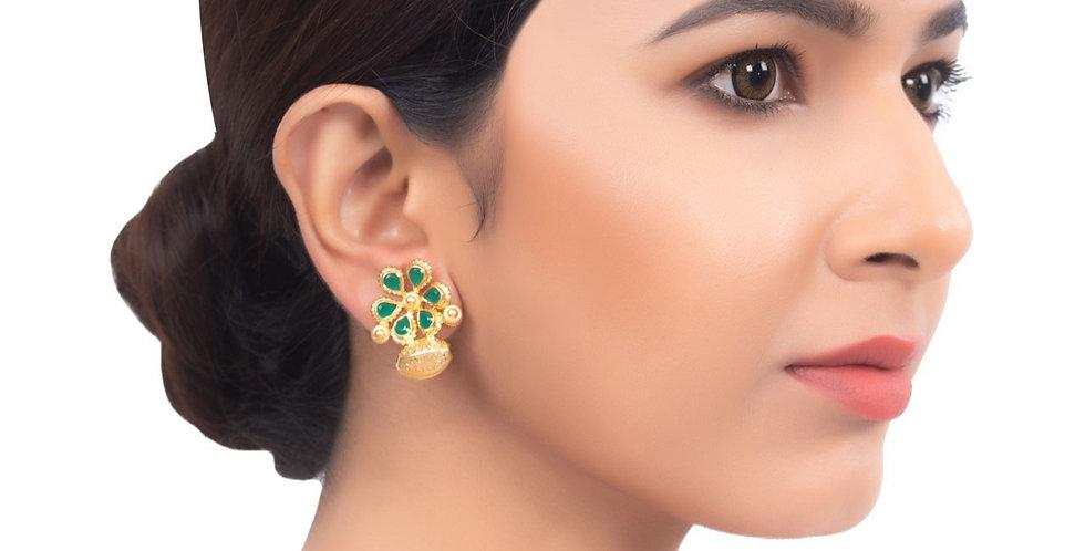 Floral Pattern Golden Top Earrings