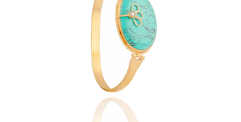 Turquoise and Golden Delicate cuff