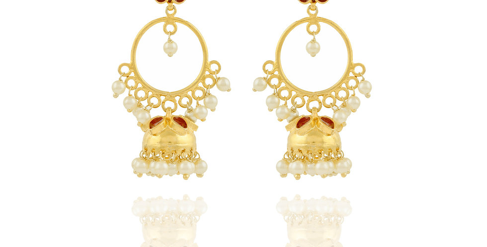 Golden Bead and Red Enamel Jhumkis