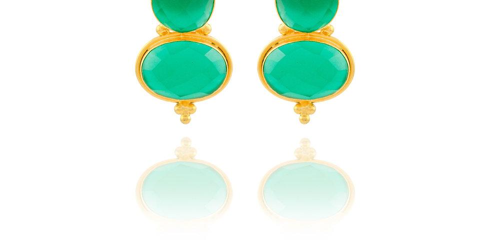 Double Crystal Stud Earrings