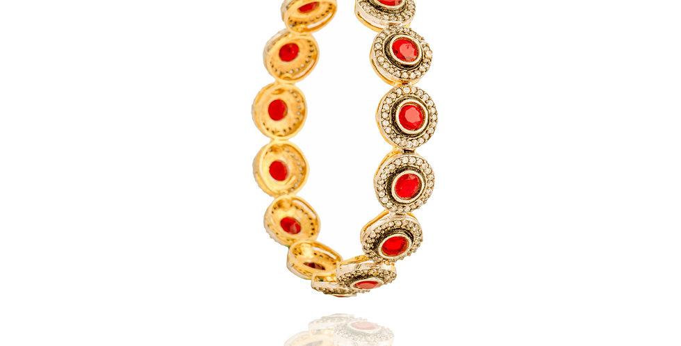 Golden Round Motif Bangle Pair